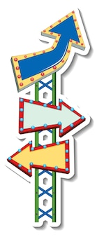 Szablon naklejki z banerem tablicy kierunkowej w stylu wesołego miasteczka na białym tle