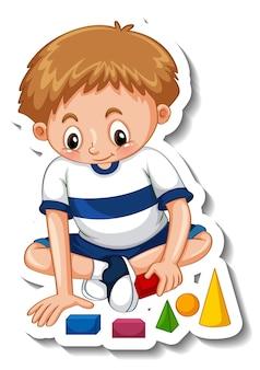 Szablon naklejki z chłopcem bawiącym się zabawkami na białym tle