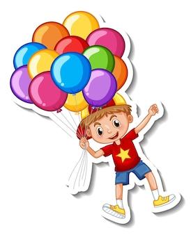 Szablon naklejki z chłopcem latającym z wieloma balonami na białym tle