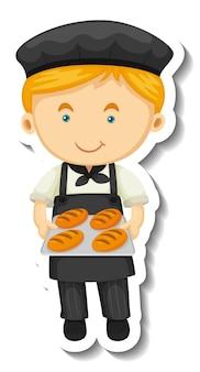 Szablon naklejki z chłopcem piekarza trzyma pieczoną tacę na białym tle