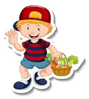 Szablon naklejki z chłopcem trzymającym postać z kreskówki kosz warzyw na białym tle