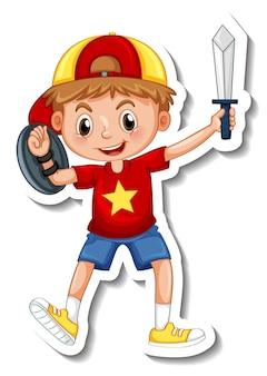 Szablon naklejki z chłopcem trzymającym zabawkę z mieczem na białym tle
