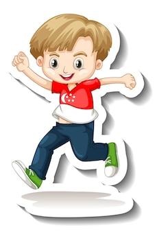 Szablon naklejki z chłopcem w koszulce z flagą singapuru, postacią z kreskówki