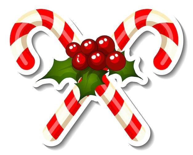 Szablon naklejki z cross candy cane na białym tle
