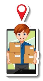 Szablon naklejki z dostawcą w mundurze trzymającym pudełka
