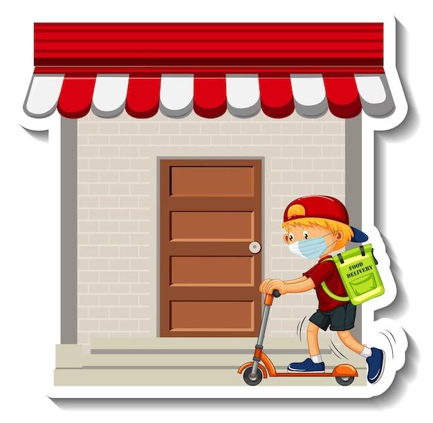 Szablon naklejki z dostawczym chłopcem jadącym na hulajnodze przed sklepem