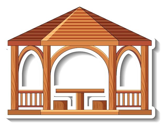 Szablon naklejki z drewnianą altaną na białym tle