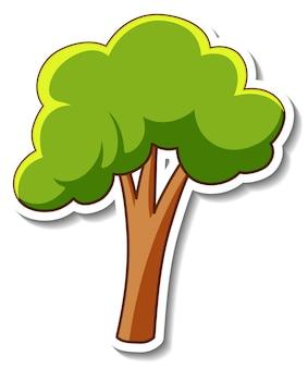 Szablon naklejki z drzewem w stylu kreskówki na białym tle
