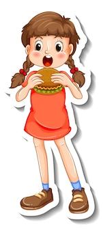 Szablon naklejki z dziewczyną jedzącą postać z kreskówki hamburgera na białym tle