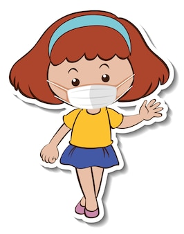 Szablon naklejki z dziewczyną noszącą postać z kreskówki maski medycznej