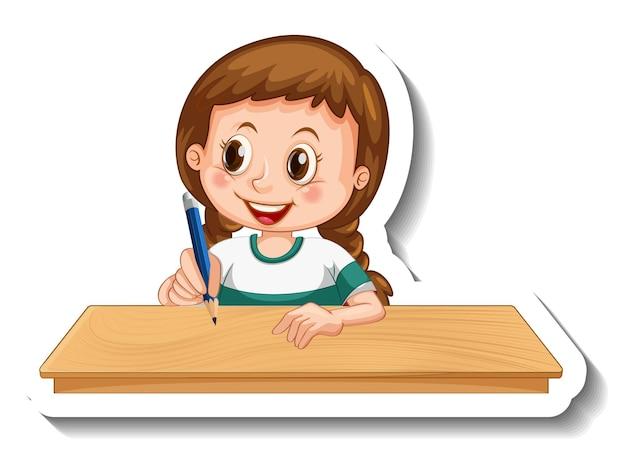 Szablon naklejki z dziewczyną piszącą na stole kreskówka na białym tle