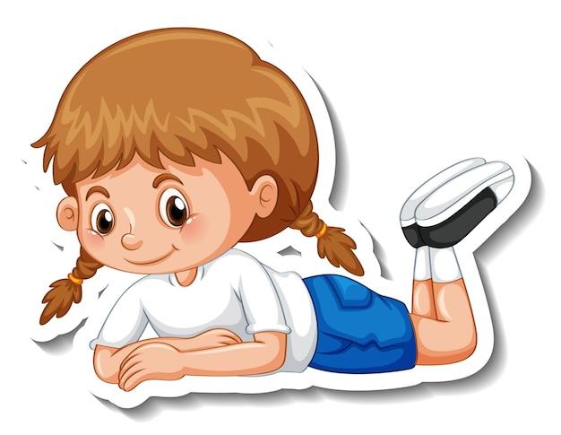 Szablon naklejki z dziewczyną w leżącej pozie na białym tle