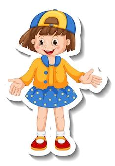 Szablon naklejki z dziewczyną w pozycji stojącej pozowanie postać z kreskówek na białym tle
