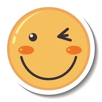 Szablon naklejki z emotikonami uśmiechniętej twarzy na białym tle