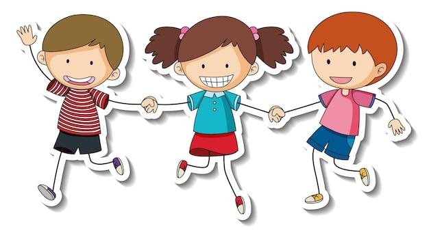 Szablon naklejki z grupą dzieci kreskówka na białym tle