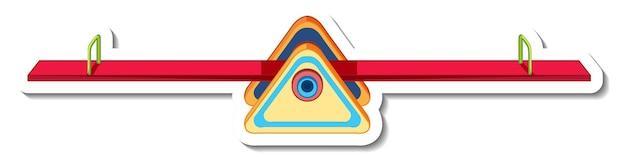 Szablon naklejki z huśtawką lub balansuje na plac zabaw na białym tle