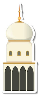Szablon naklejki z izolowanym budynkiem meczetu