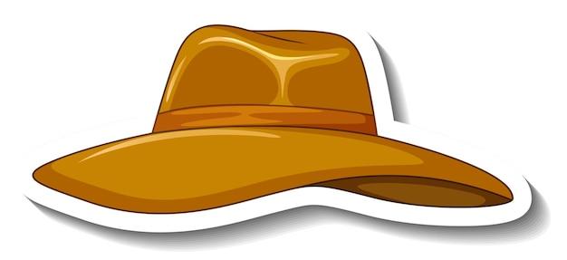 Szablon naklejki z kapeluszem z dyskiem na białym tle