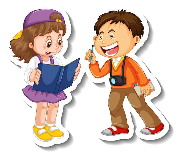 Szablon naklejki z kilkoma dziećmi studentów postać z kreskówki na białym tle