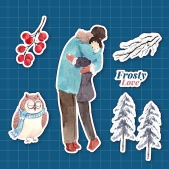 Szablon naklejki z koncepcją zimowej miłości dla postaci z kreskówek na białym tle ilustracji wektorowych akwarela