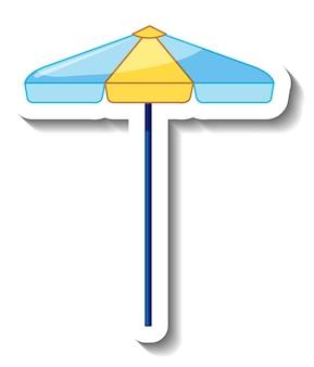 Szablon naklejki z letnim parasolem plażowym na białym tle
