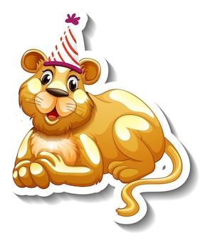 Szablon naklejki z lwicą w kapeluszu imprezowym