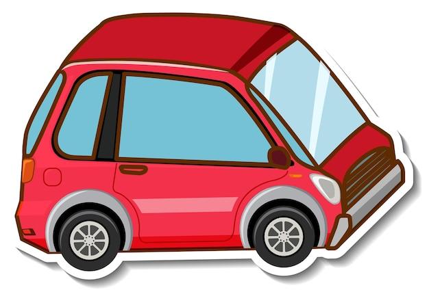 Szablon naklejki z mini samochodem w stylu kreskówki na białym tle