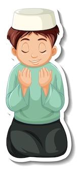 Szablon naklejki z modlącym się muzułmańskim chłopcem