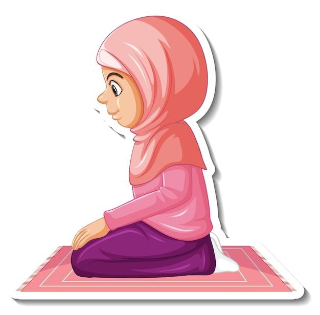Szablon naklejki z muzułmańską dziewczyną siedzącą na dywanie i modlącą się