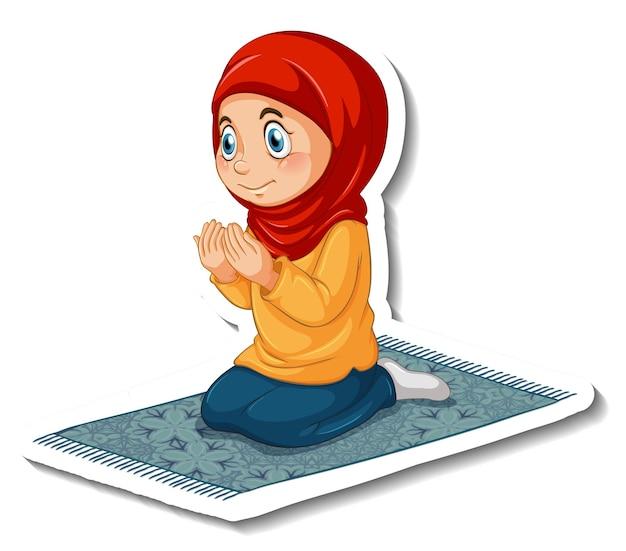 Szablon naklejki z muzułmańską dziewczyną w pozycji modlącej się na białym tle