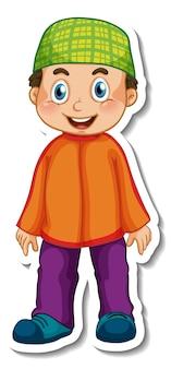 Szablon naklejki z muzułmańskim chłopcem w stojącej pozie postaci z kreskówek