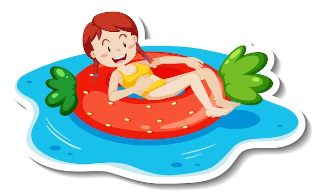 Szablon naklejki z nastolatką leżącą na kółku do pływania