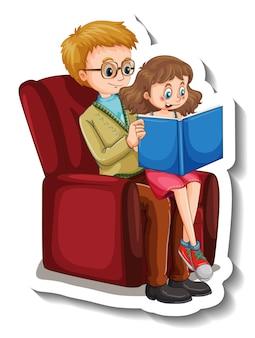 Szablon naklejki z ojcem i córką czytającą książkę