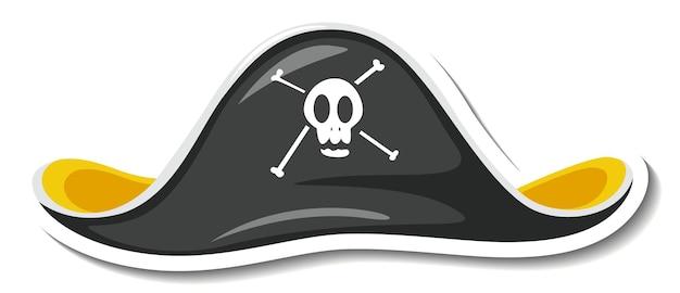 Szablon naklejki z pirackim kapeluszem na białym tle