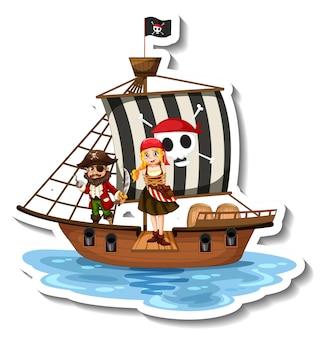 Szablon naklejki z piratami na statku na białym tle