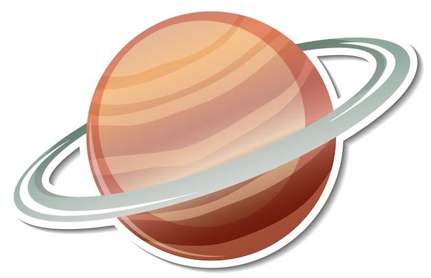 Szablon naklejki z planetą saturn na białym tle