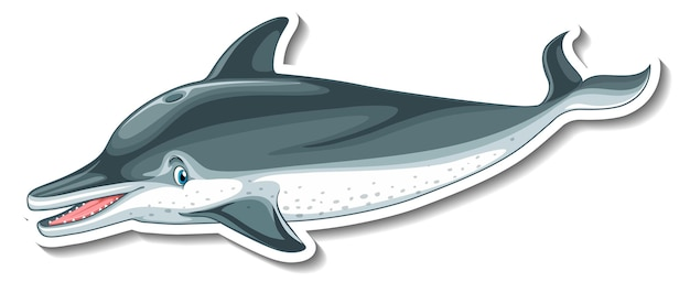 Szablon naklejki z postacią z kreskówek delfinów na białym tle