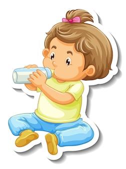 Szablon naklejki z postacią z kreskówek małej dziewczynki na białym tle