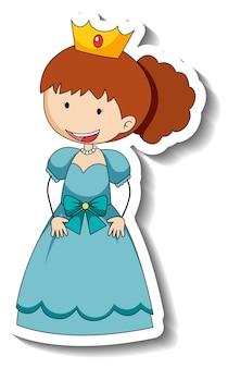 Szablon naklejki z postacią z kreskówek małej księżniczki na białym tle