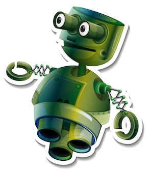 Szablon naklejki z postacią z kreskówek robot zabawka na białym tle