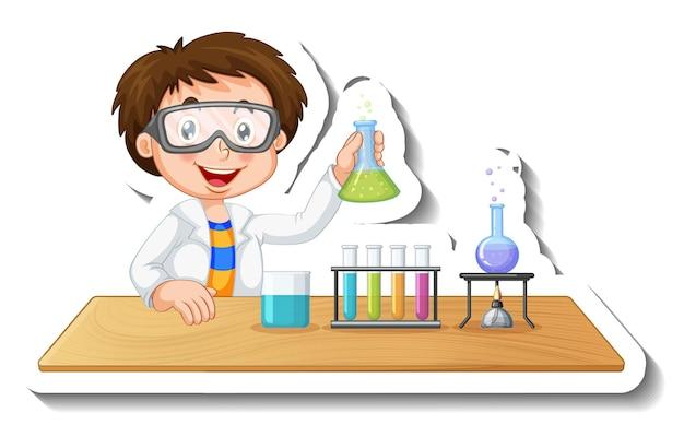 Szablon naklejki z postacią z kreskówek studenta przeprowadzającego eksperyment chemiczny