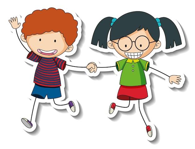 Szablon naklejki z postacią z kreskówek szczęśliwych dzieci na białym tle