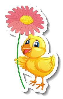 Szablon naklejki z postacią z kreskówek z pisklęciem trzymającym kwiat na białym tle