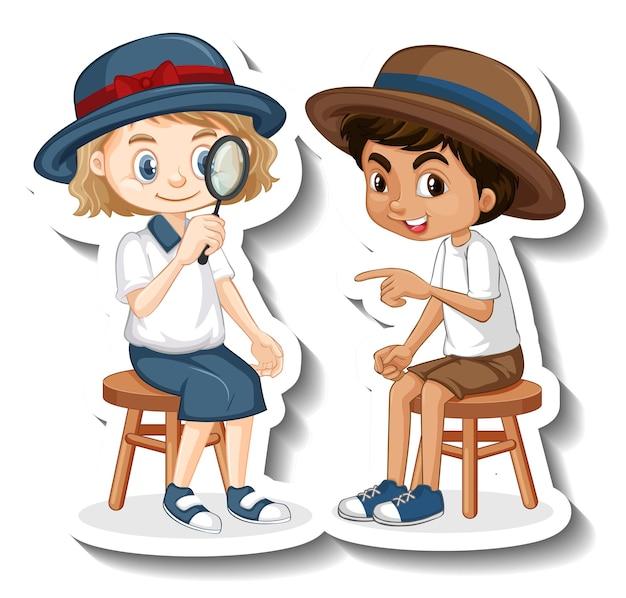 Szablon naklejki z postacią z kreskówki chłopca i dziewczynki