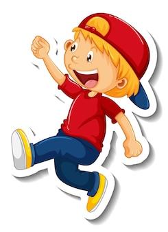 Szablon naklejki z postacią z kreskówki chłopca na białym tle