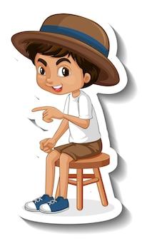 Szablon naklejki z postacią z kreskówki chłopca