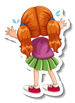 Szablon naklejki z postacią z kreskówki dziewczyny na białym tle