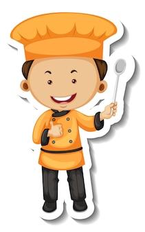 Szablon naklejki z postacią z kreskówki kucharza chłopca na białym tle
