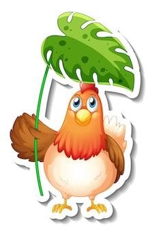 Szablon naklejki z postacią z kreskówki kurczaka trzymającego liść na białym tle