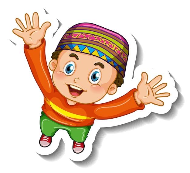 Szablon naklejki z postacią z kreskówki muzułmańskiego chłopca na białym tle